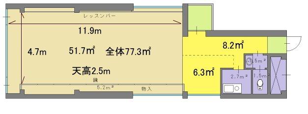 三軒茶屋リーフ300 レンタルダンススタジオの図面